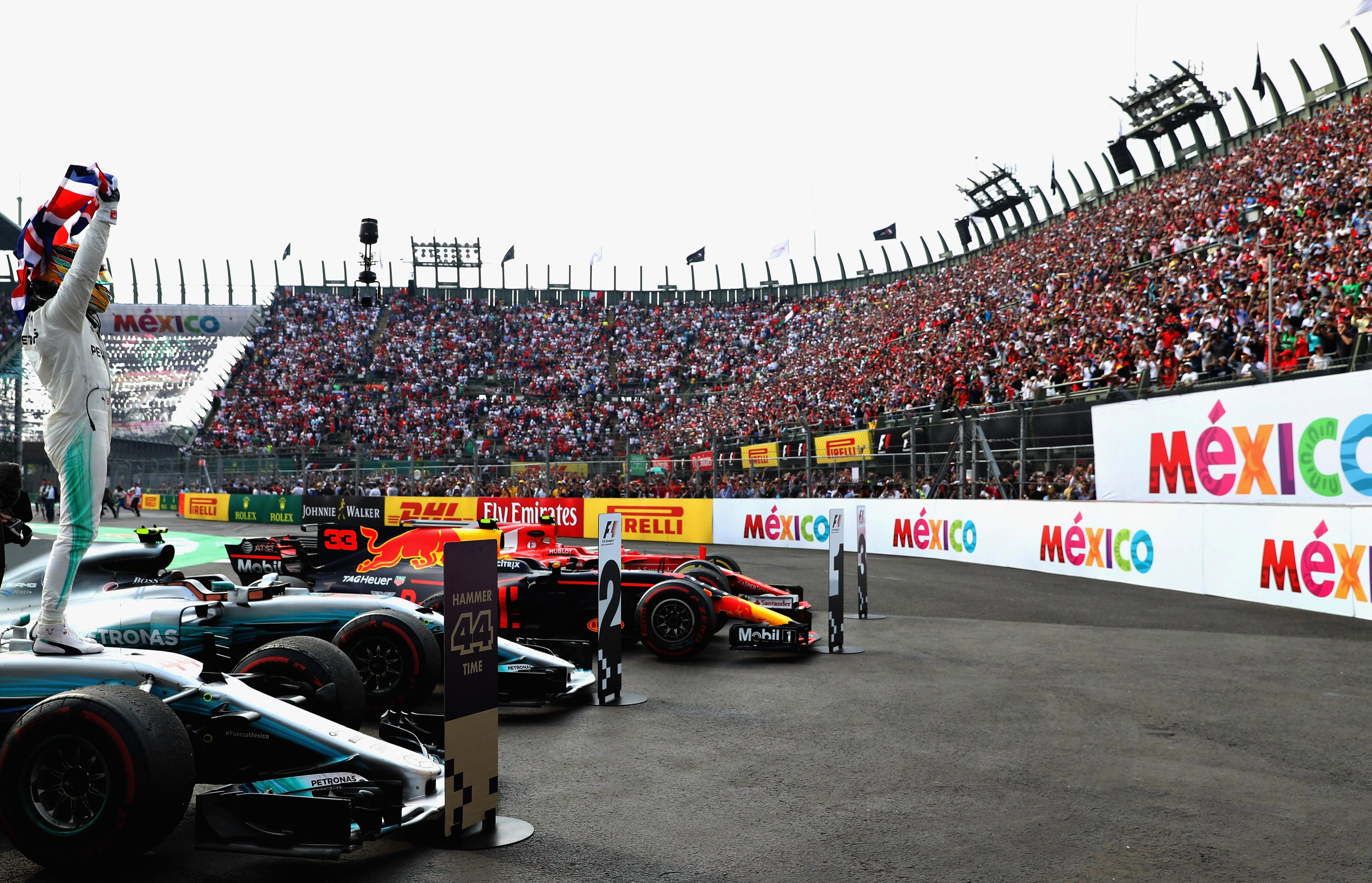 Lewis Hamilton celebrates in front of the Mexico crowd