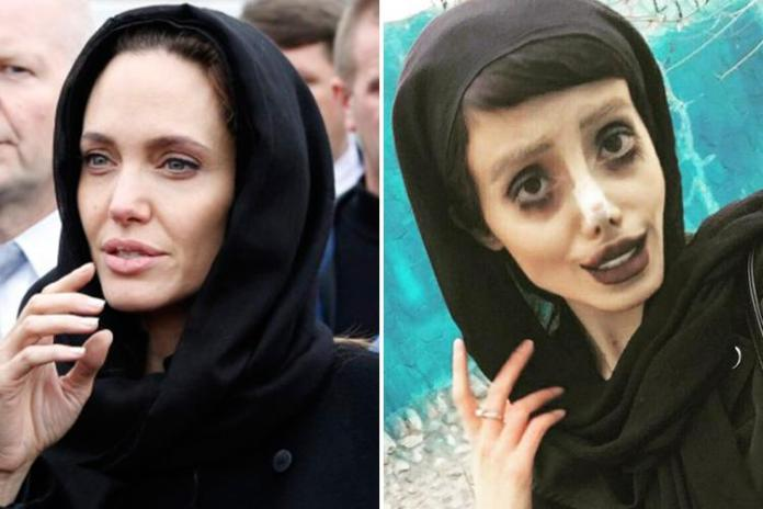 Sahar, 19, is hoping to look like her idol Angelina Jolie, left