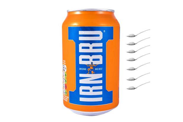 Just one can of pop a week is enough to raise your blood pressure, one can of Irn Bru has seven teaspoons of sugar