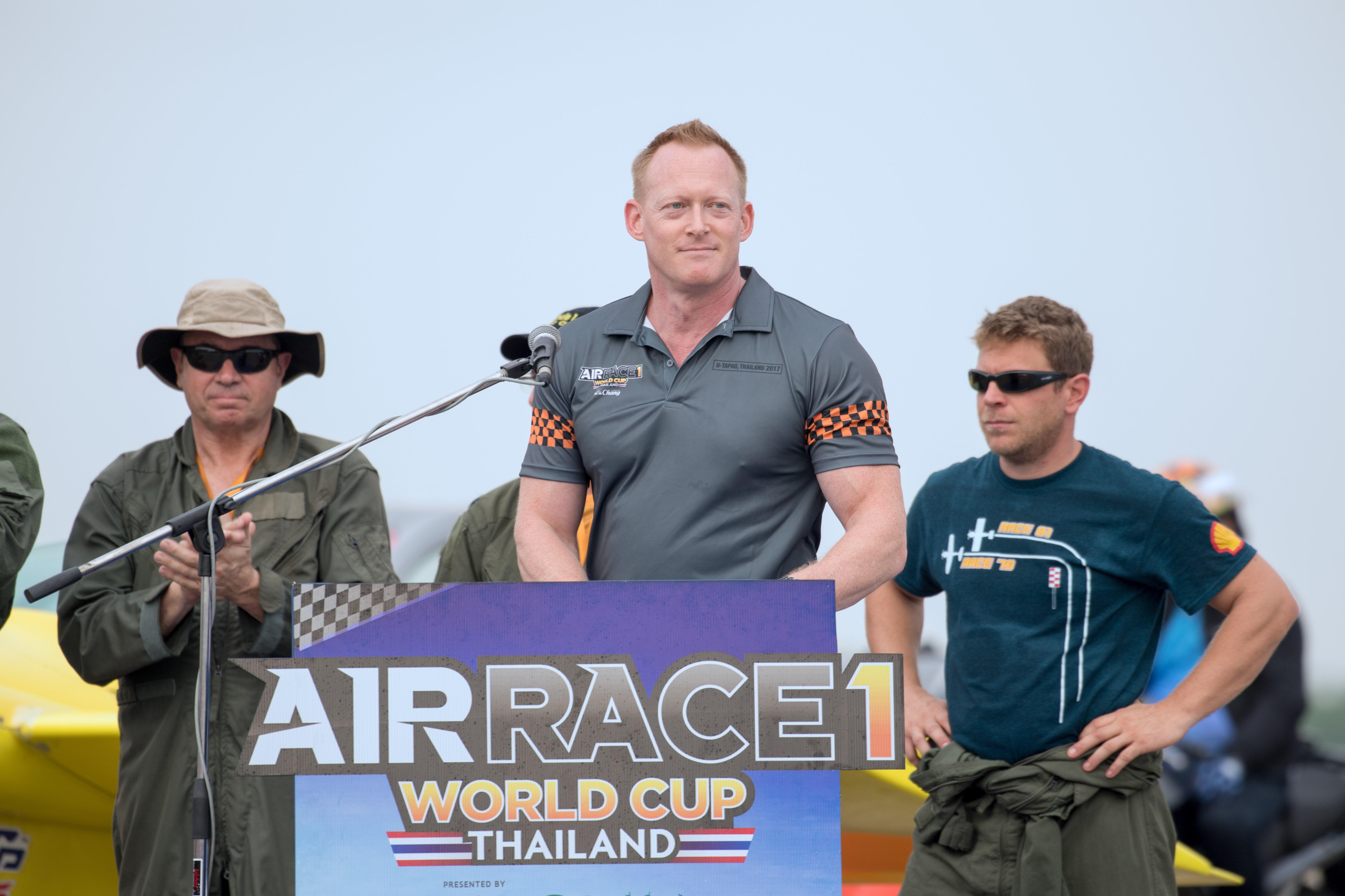 Jeff Zaltman speaking at the Air Race 1 World Cup in Thailand last November