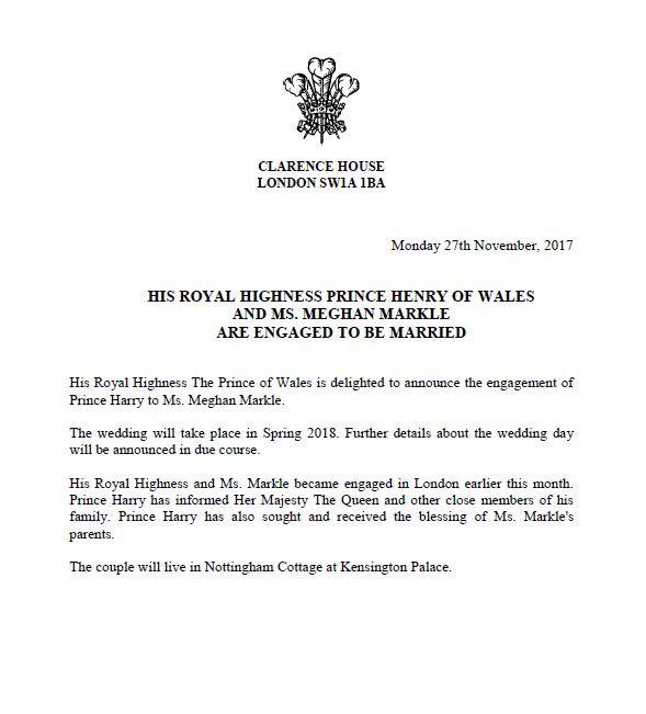 Kensington Palace released this statement announcing Prince Harry and Meghan Markle's engagement.