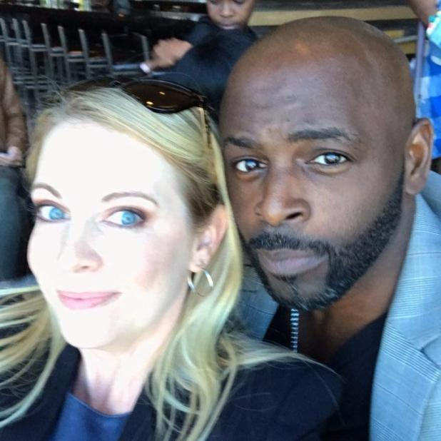 Melissa Joan with Alimi Ballard who played the Quizmaster Albert on the show