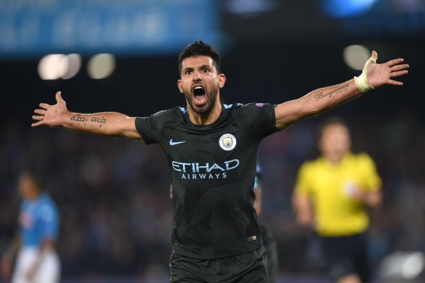 Sergio Aguero scored his 178th Man City goal against Napoli - becoming the club's record goal scorer