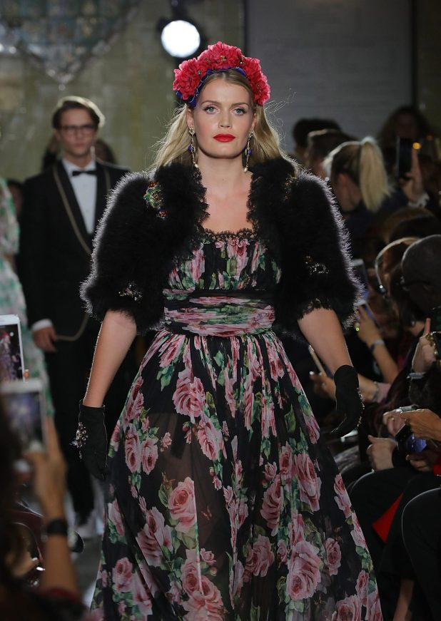 Kitty Spencer looked glam in a red rose headpiece and fur stole