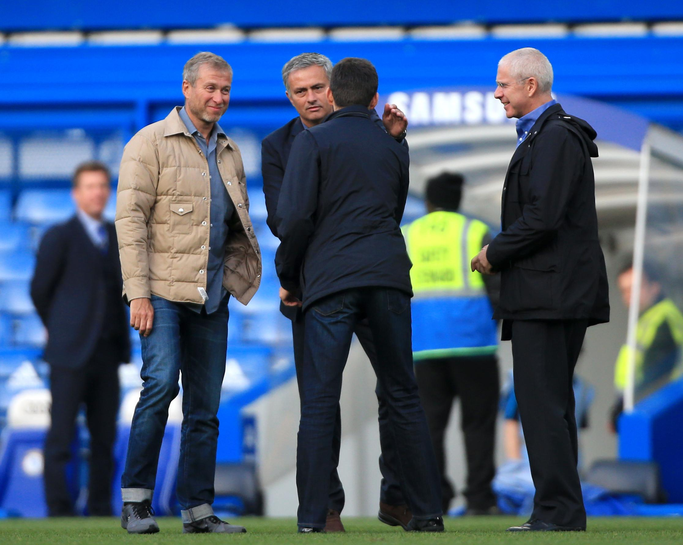 Roman Abramovich and Jose Mourinho meet in happier times at Stamford Bridge