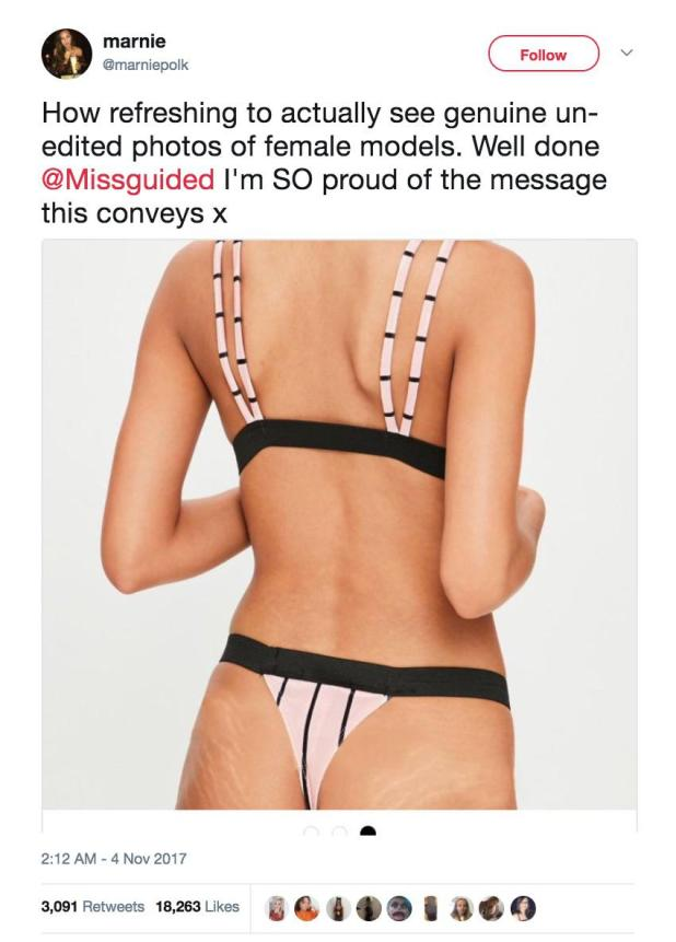 Shoppers have previously praised the brand for using unedited photographs on its website