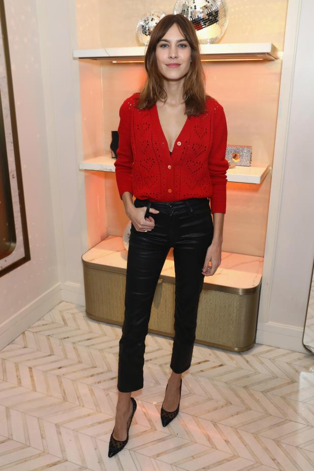Alexa Chung wowed partygoers in a pair of cropped leather trousers