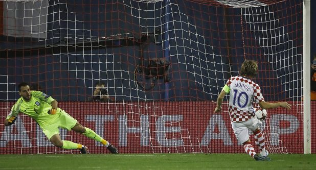 Luka Modric scored an early penalty for Croatia against Greece at Stadion Maksimir