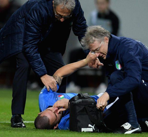 Leonardo Bonucci sustained a broken nose after a challenge from Ola Toivonen
