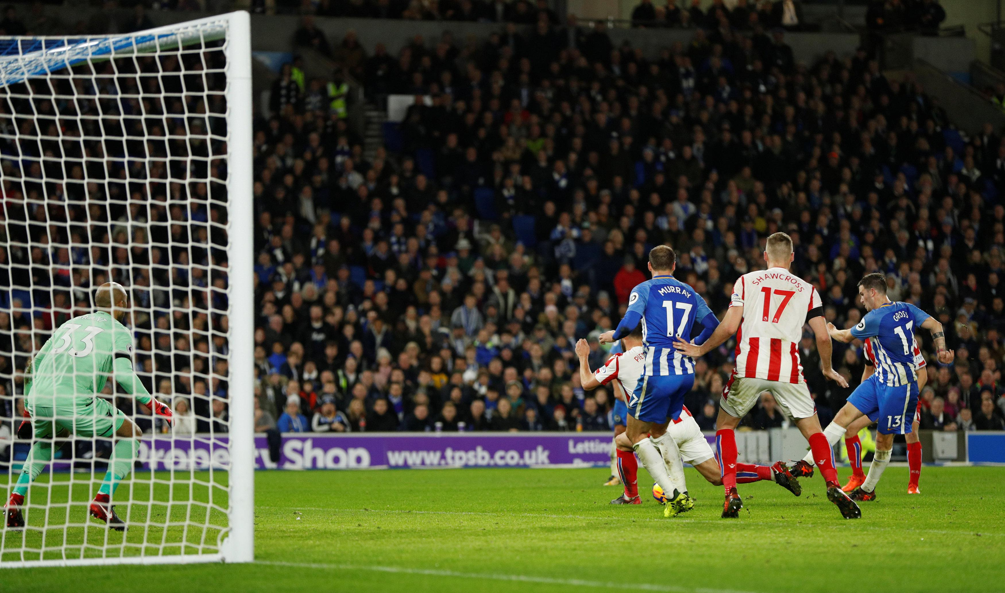 Pascal Gross put Brighton level with a strike that went through Lee Grant's legs