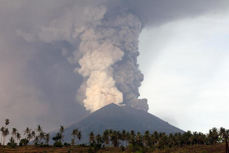 A view of the Mount Agung volcano erupting in Karangasem, Bali, Indonesia, on Monday, November 27