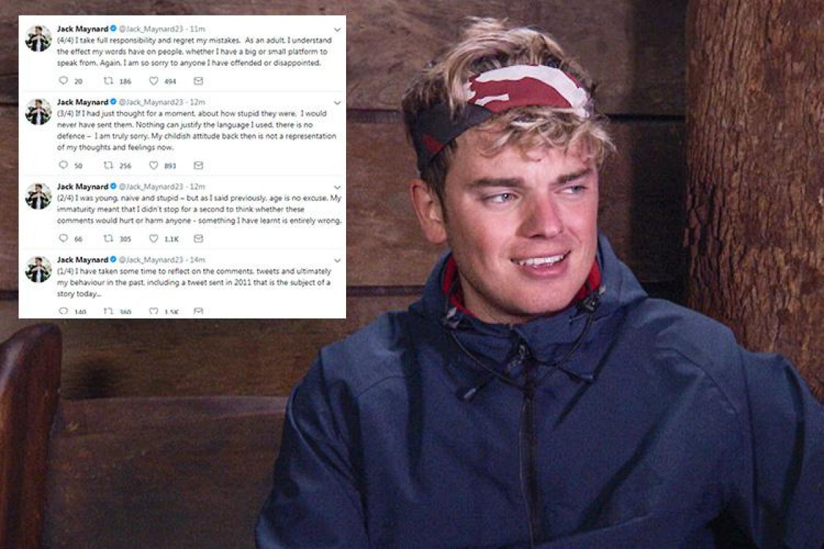 im a celebritys jack maynard apologises for vile rape tweets in series of new posts