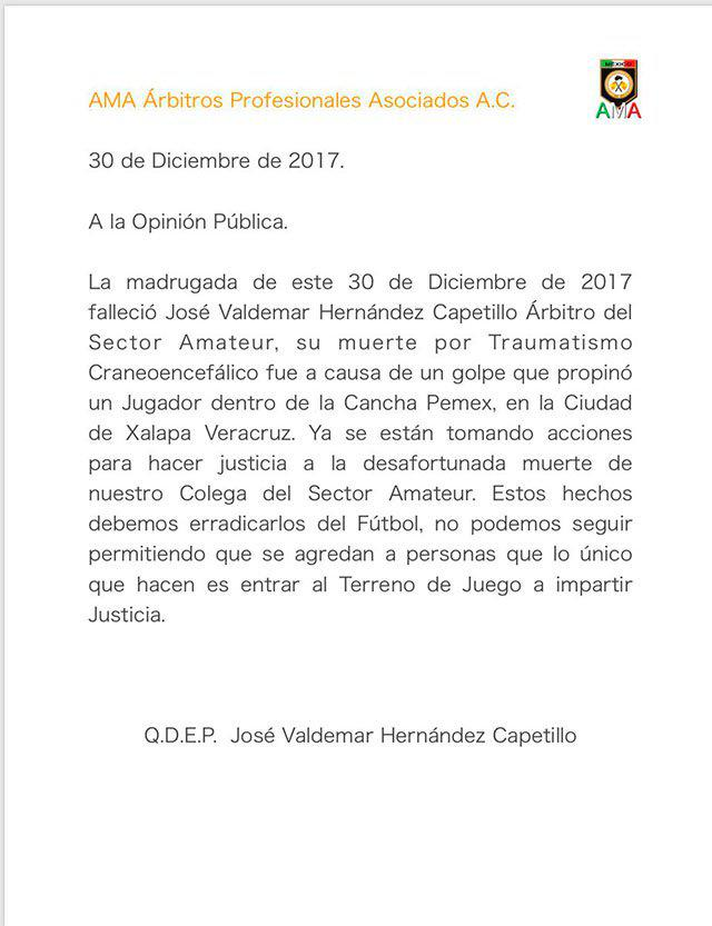 Valentin Ramirez, president of professional referees' association AMA, confirmed the death of Jose Valdemar Hernandez Capetillo in a statement