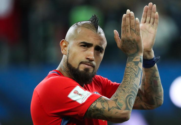Bayern's Arturo Vidal has seveal tattoos but one on his stomach stands out