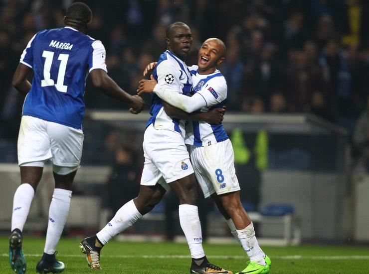 FC Porto forward Yacine Brahimi celebrates with team-mate Vincent Aboubakar