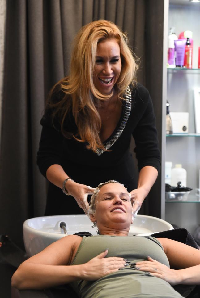 Kerry Katona was all smiles as she enjoyed a pamper session at RHOC pal Ampika Pickston's salon