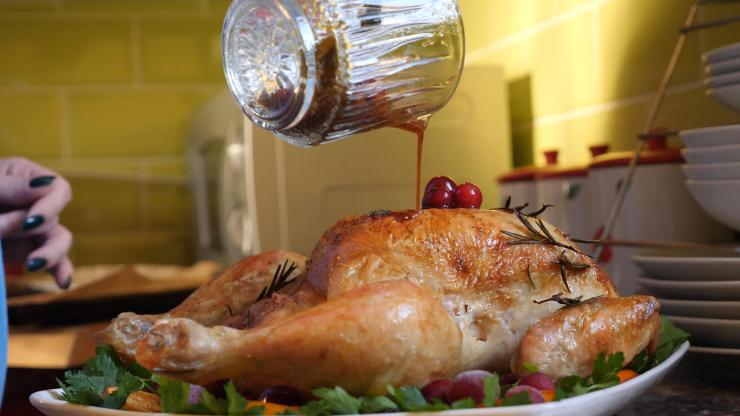 To stop the turkey drying out, baste it every hour as it cooks