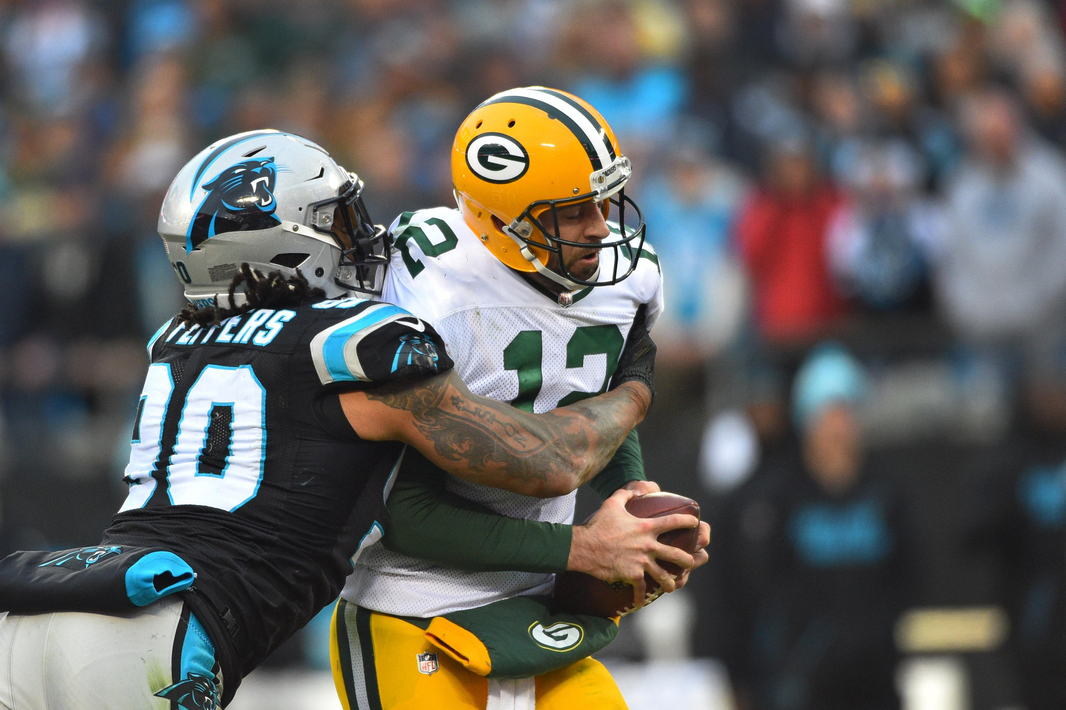Defensive lineman attack the quarterback in the hopes of forcing a sack