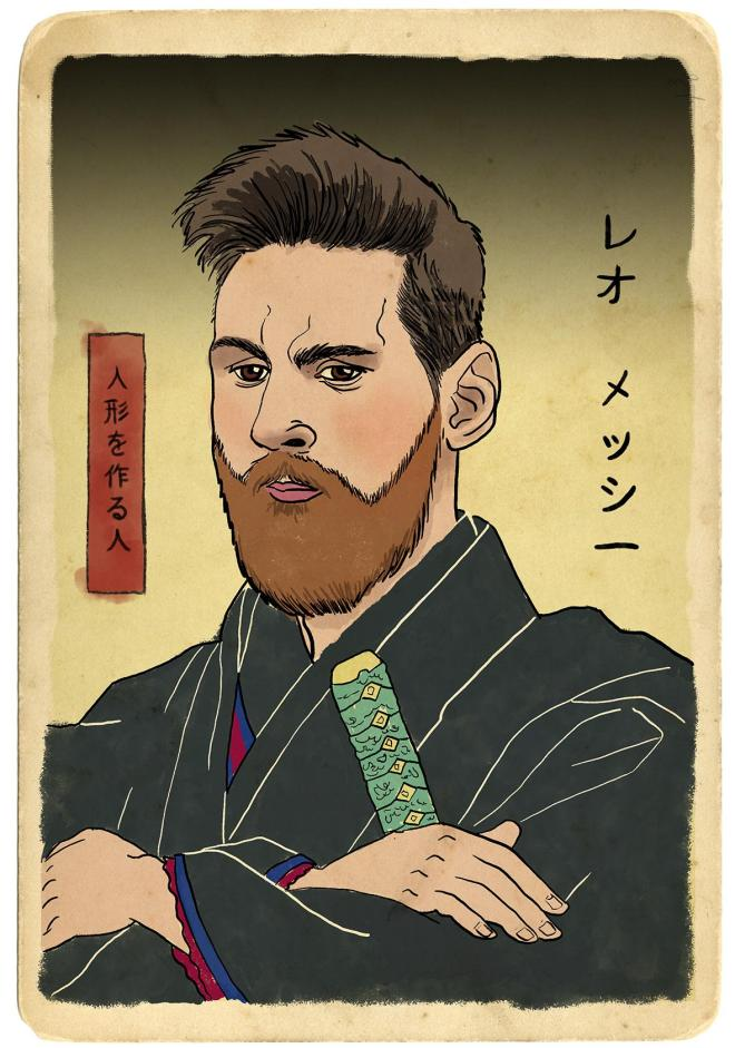 Lionel Messi as a Samurai warrior