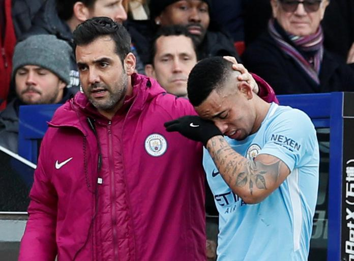 Gabriel Jesus leaves the pitch in tears after suffering an injury against Crystal Palace