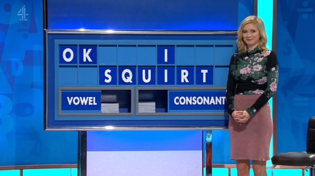 Rachel Riley spelled out the phrase 'OK I Squirt' on today's Countdown