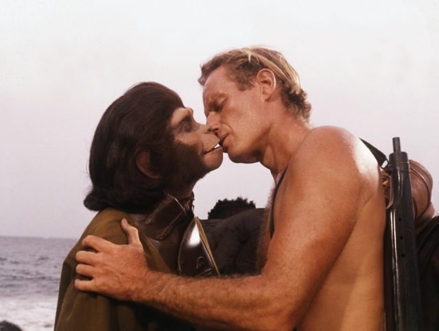 A human-chimp hybrid, or 'humanzee', is scientifically possible. File picture showing 1968 film Planet Of The Apes