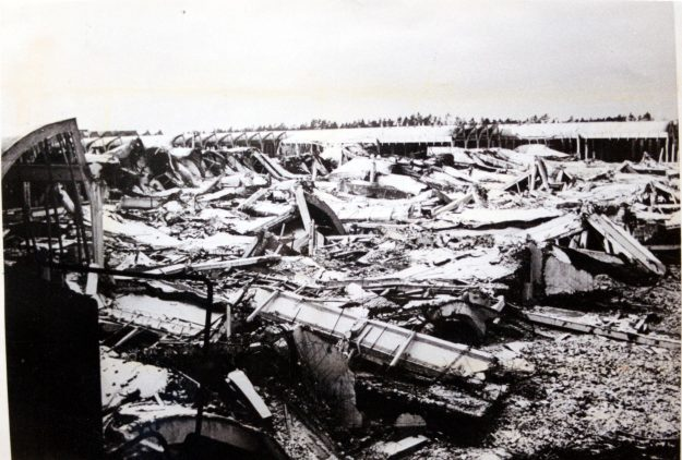 The bombed out factory after the war. However, much of the machinery was stored in outer buildings and was not damaged