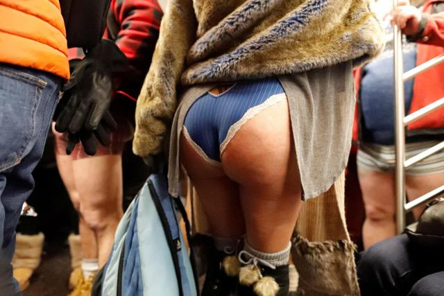 A woman flaunts her peachy derriere on the New York subway, after US participants gathered at Union Station