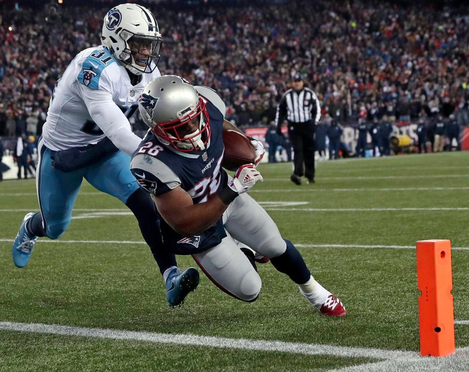 James White dives into the end zone for his first touchdown of the night