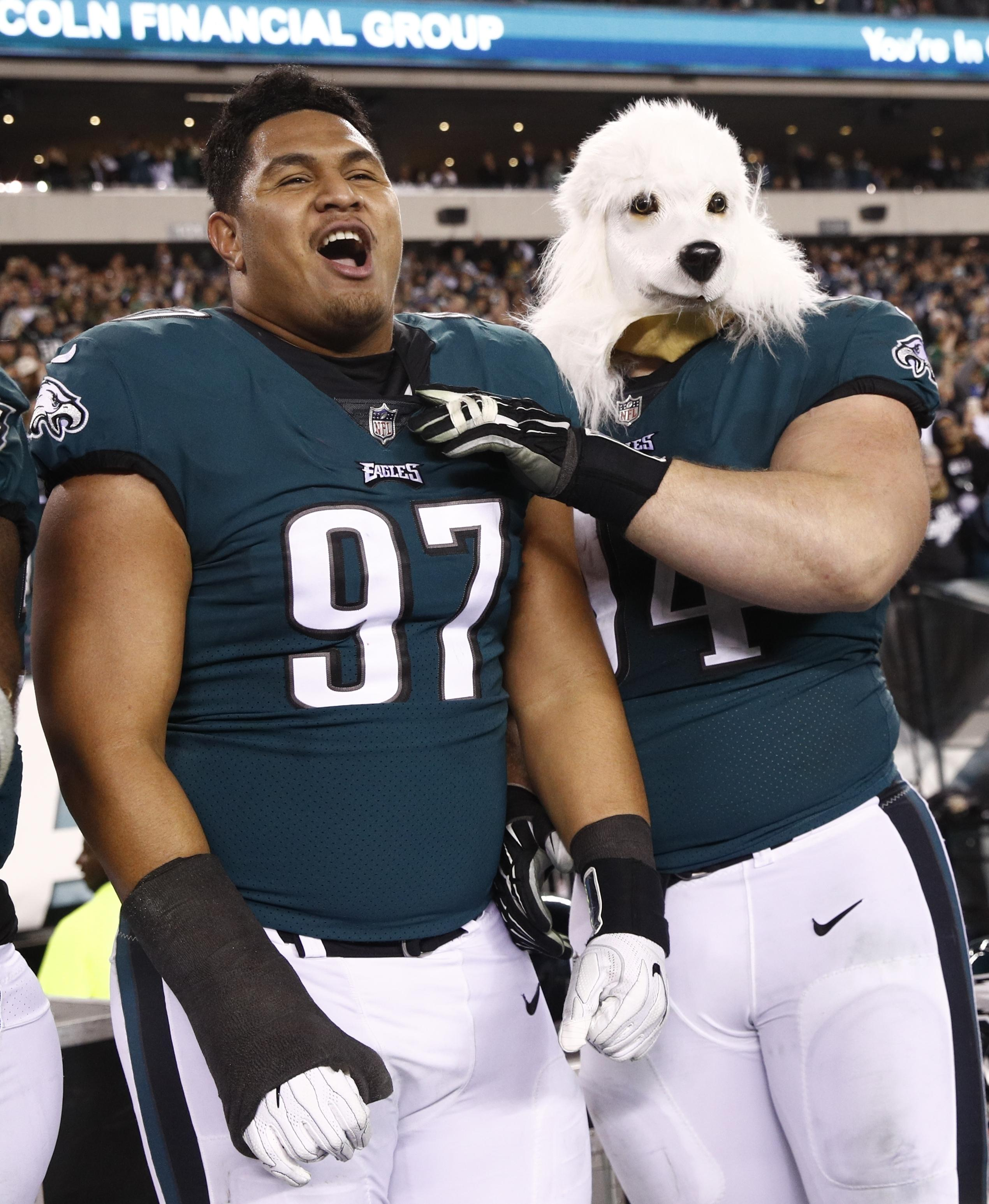 Philadelphia players wore dog masks to mock their underdog status for the second week running