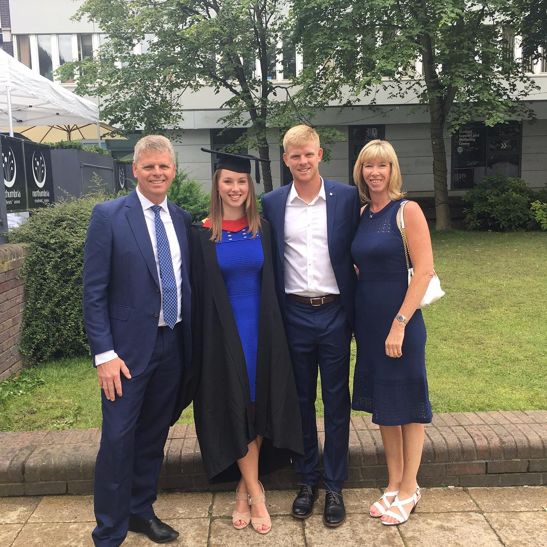 Edmund joins dad Steven and mum Denise at the graduation ceremony of his sister Kelly