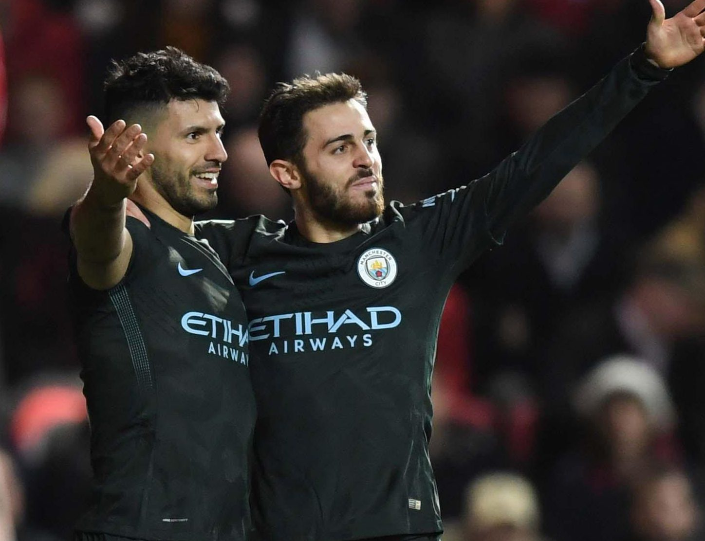 Sergio Aguero also netted as City ran out 2-1 winners on the night against Bristol City