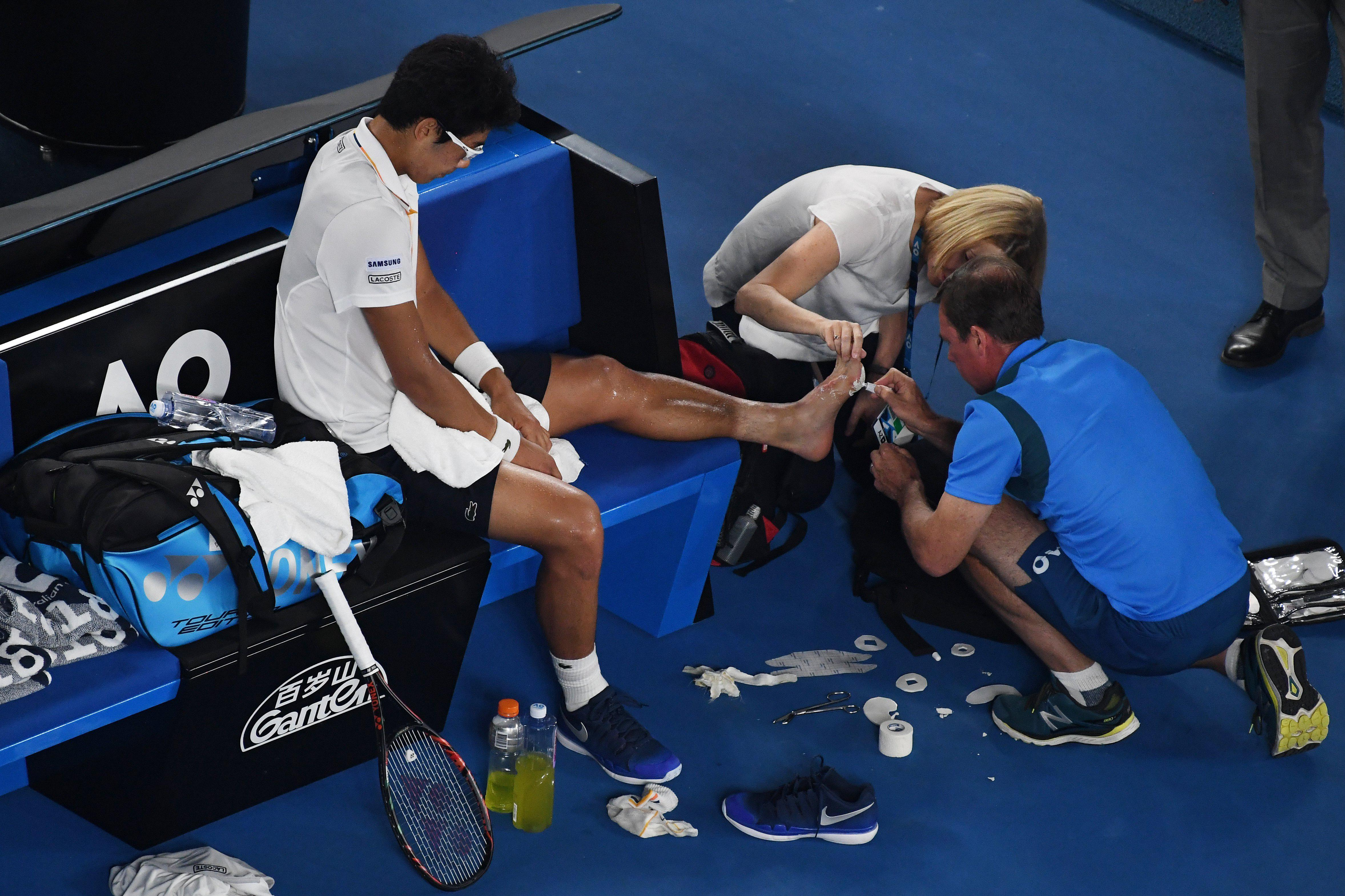 Chung Hyeon was struggling with blisters during showdown with Roger Federer