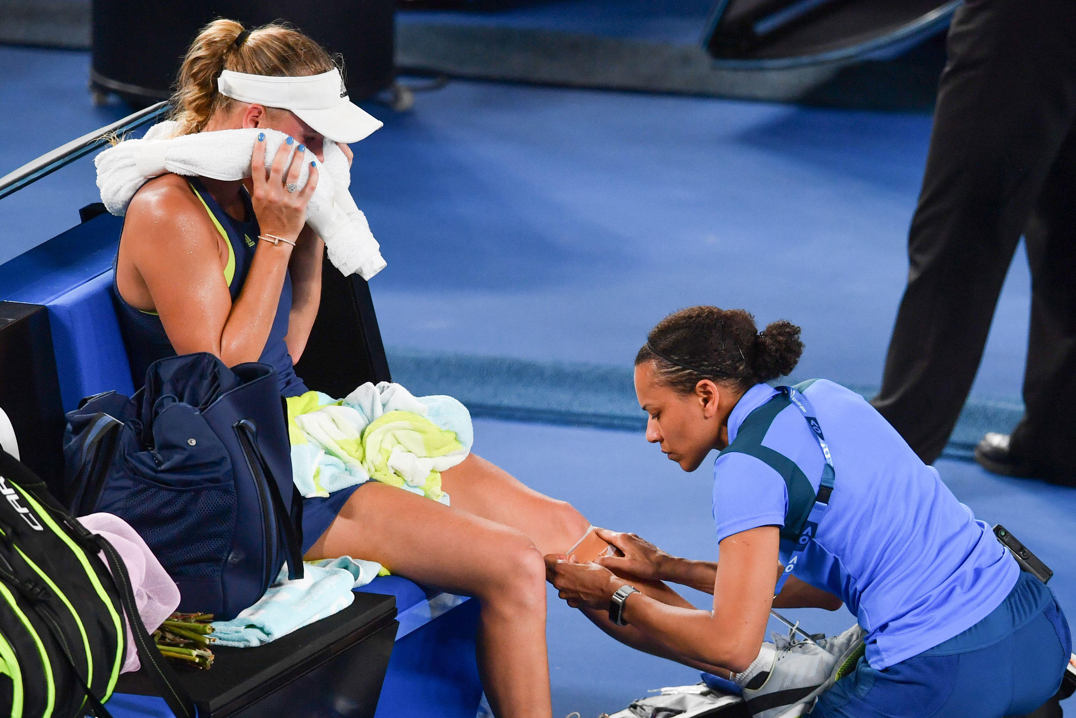 Caroline Wozniacki also received medical assistance during final