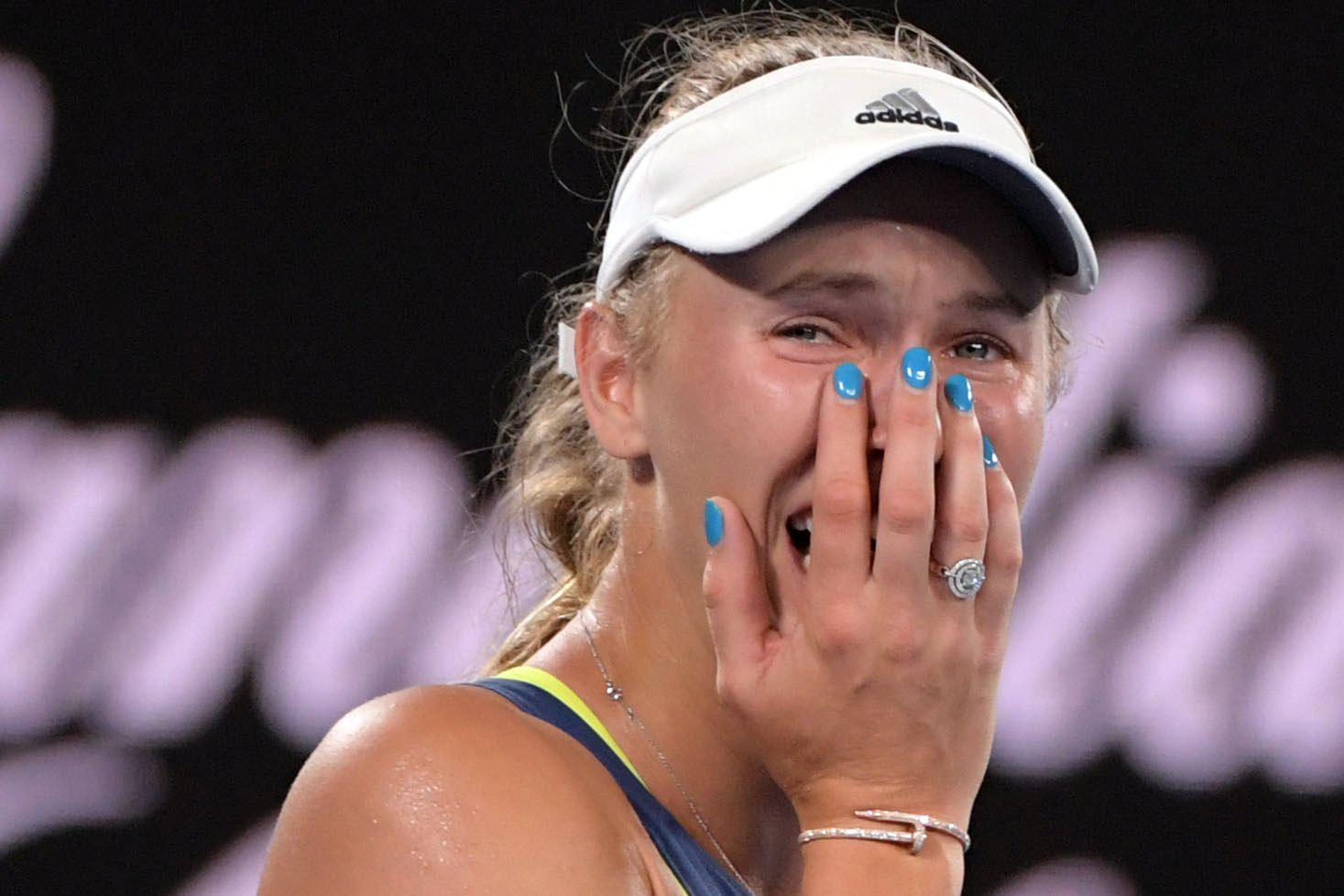 Wozniacki was teary and emotional after clinching her first Grand Slam title