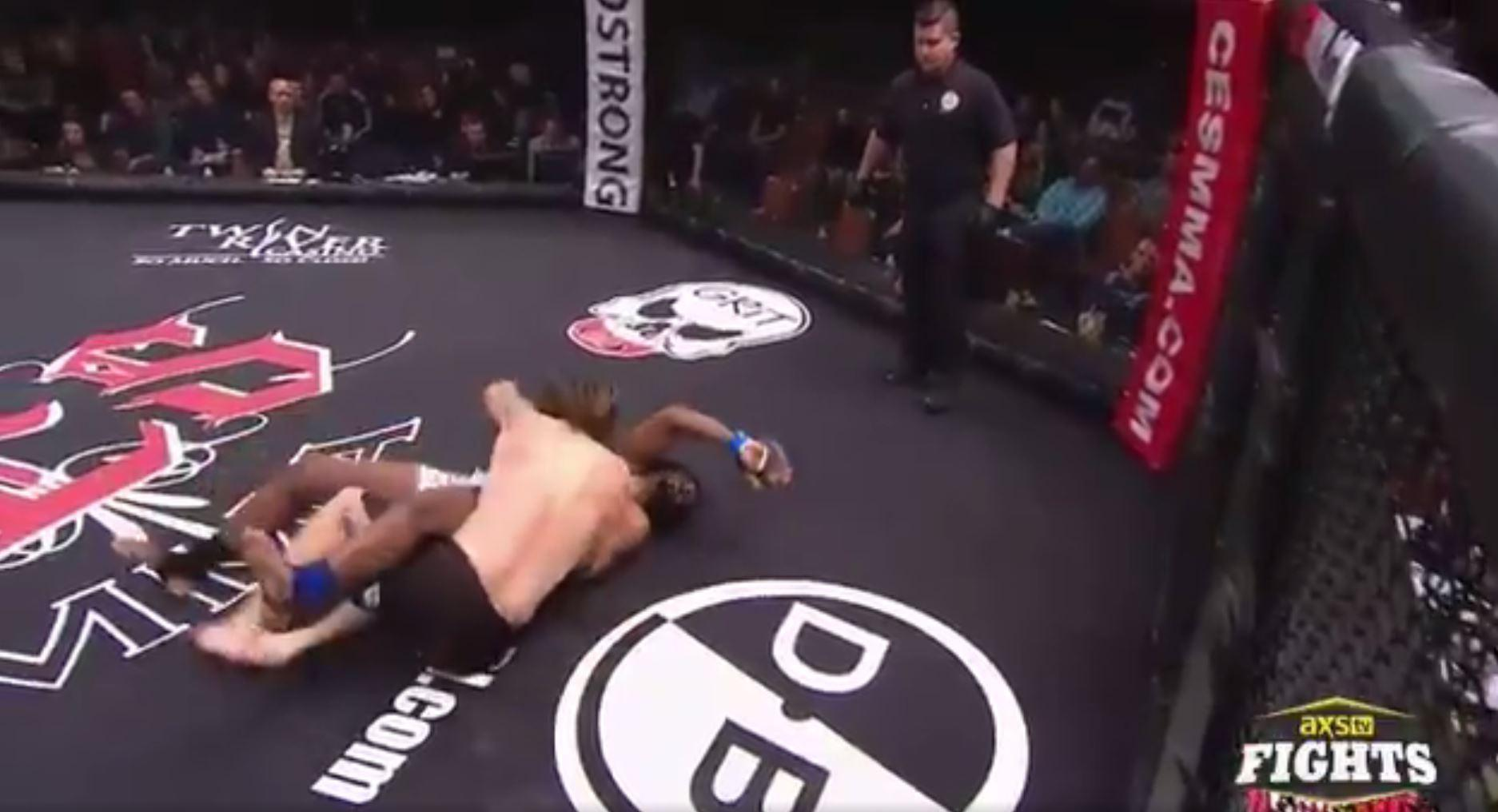 The referee quickly stepped in with Timothy Woods unconscious
