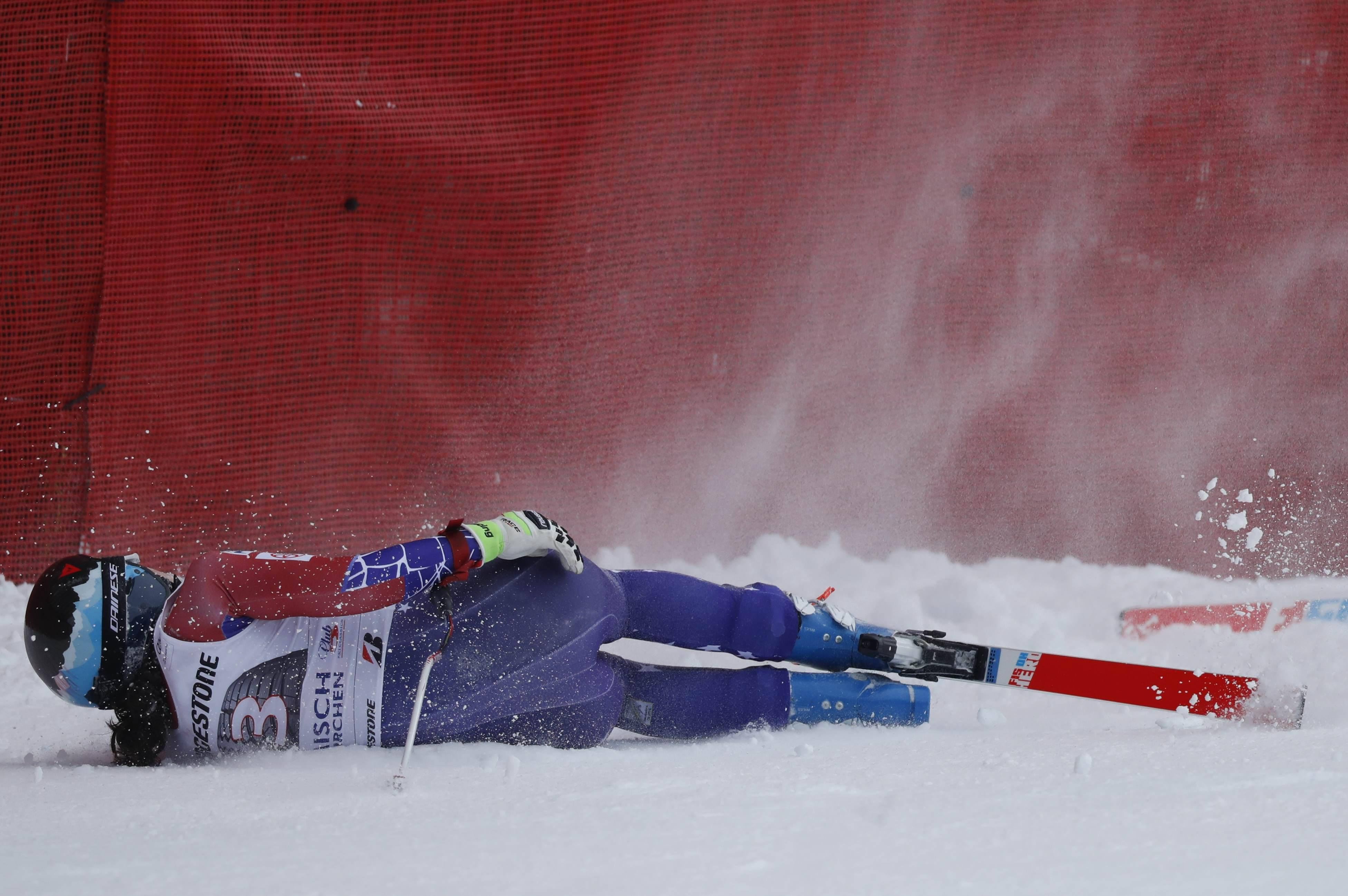Jacqueline Wiles was left slumped on the snow after crashing out of the downhill event