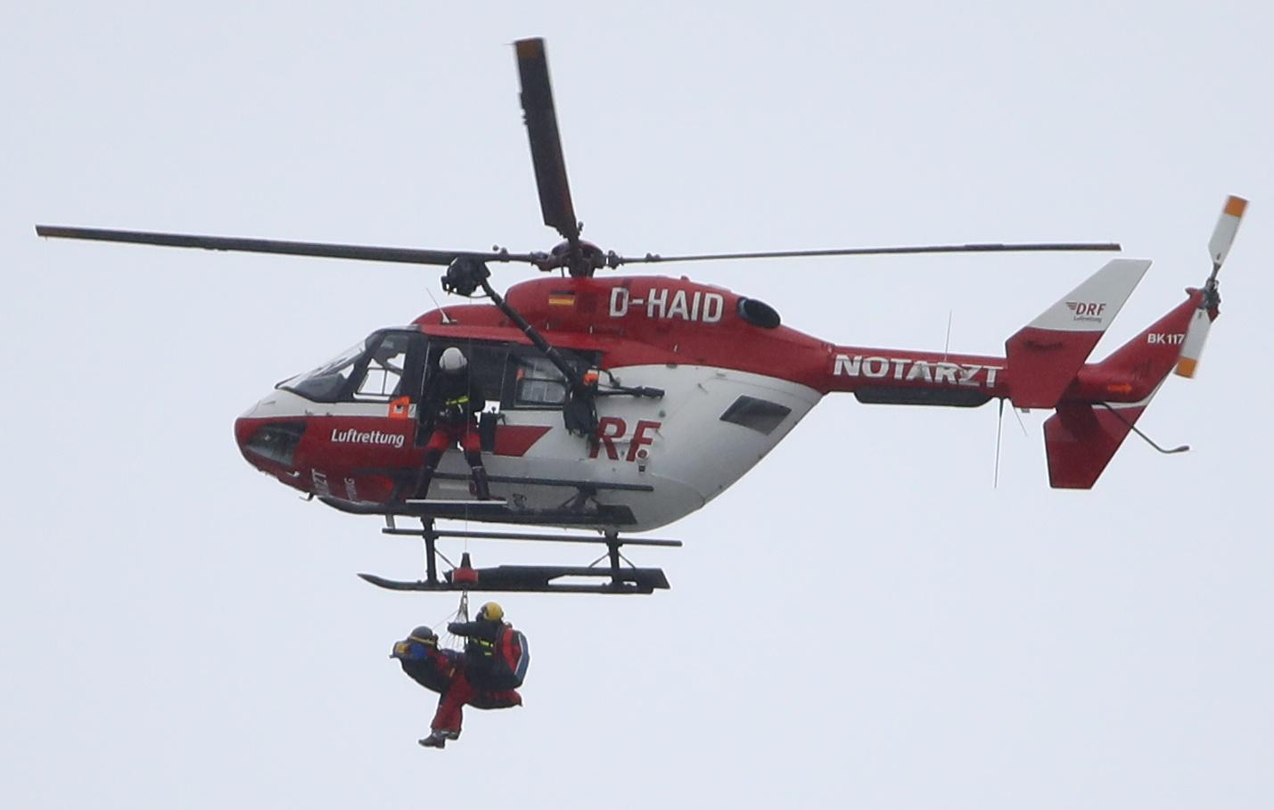 The American skier was then airlifted by ambulance to hospital in distressing scenes