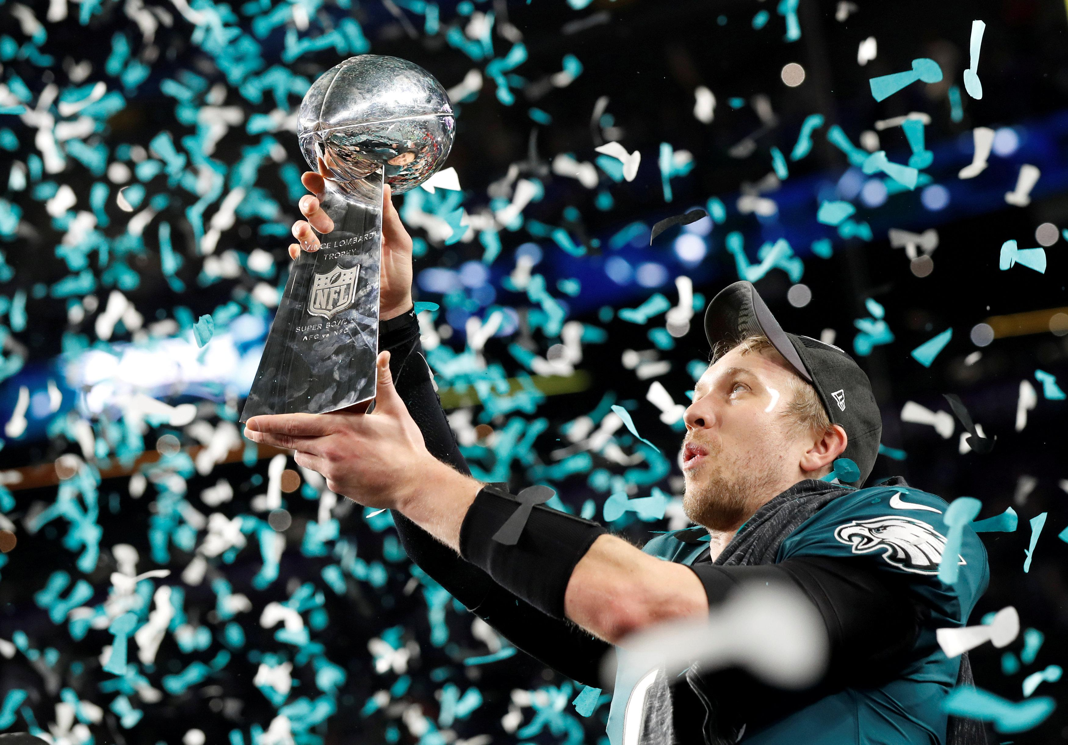 Foles lifts the Vince Lombardi trophy after the Eagles' Super Bowl win over the New England Patriots