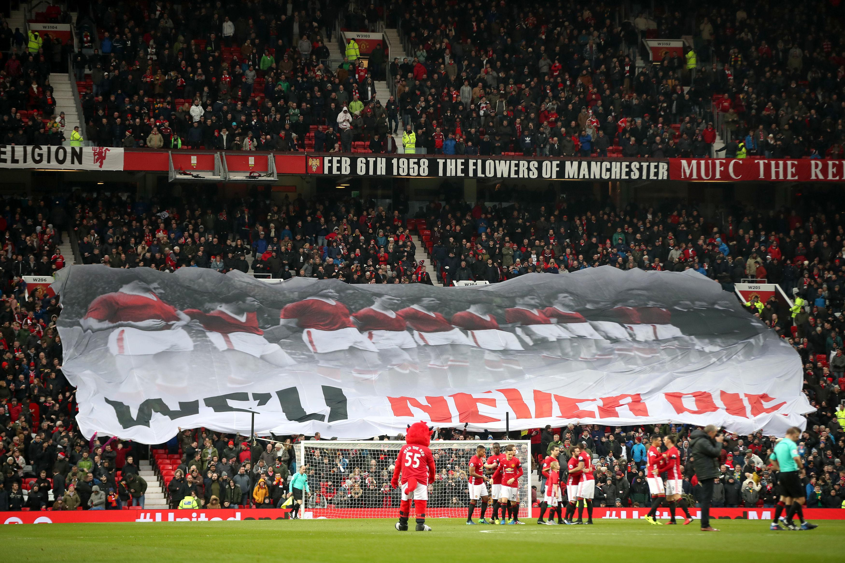United paid tribute to the 'Flowers of Manchester' ahead of their home match with Huddersfield on Saturday