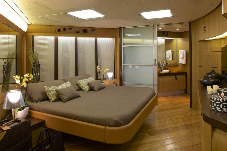 The plush yacht has an astounding master bedroom