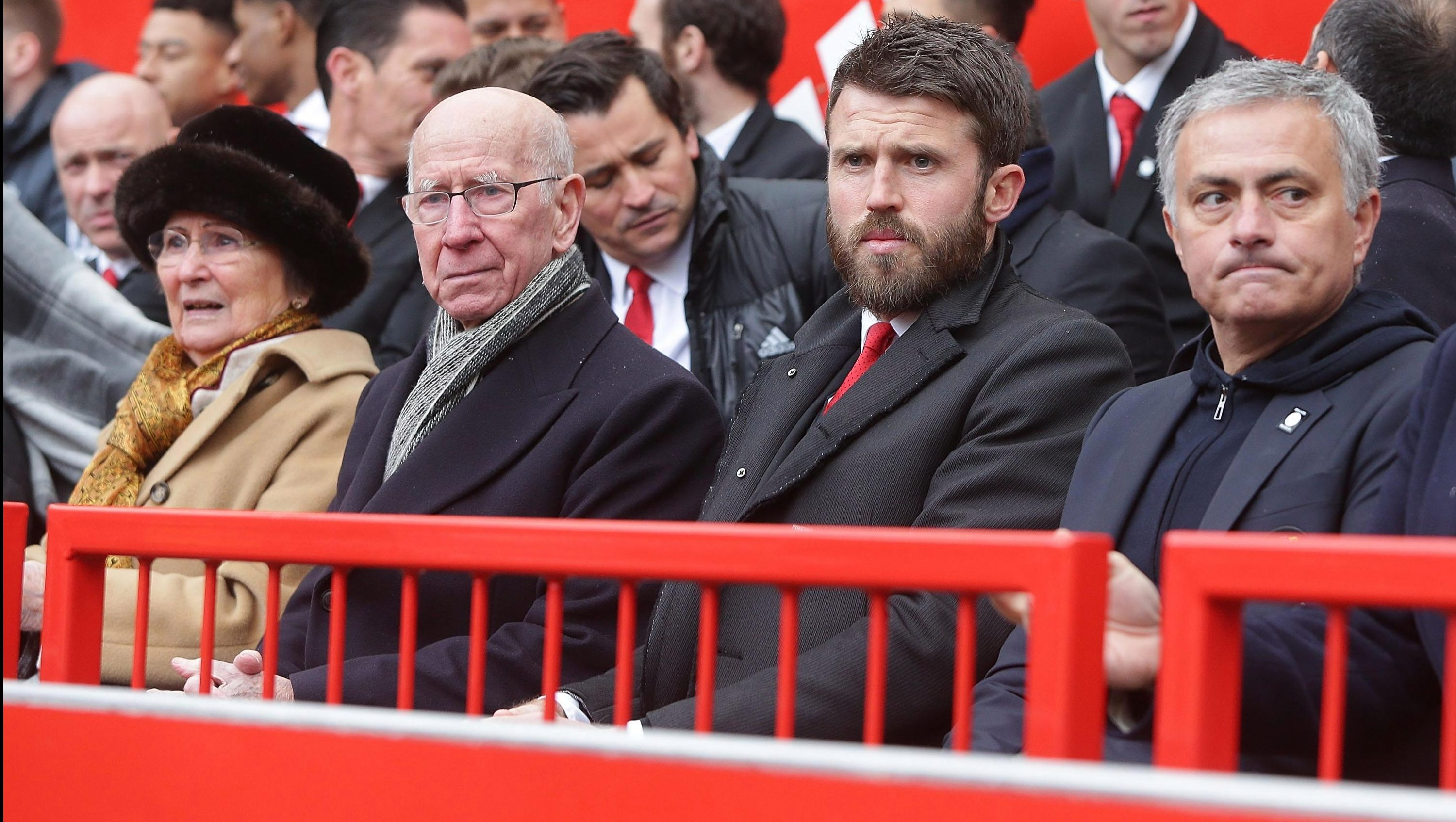 Sir Bobby was sat next to United club captain Michael Carrick and manager Jose Mourinho