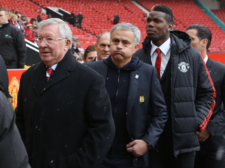 Sir Alex Ferguson, Jose Mourinho and Paul Pogba arrive for the start of the service