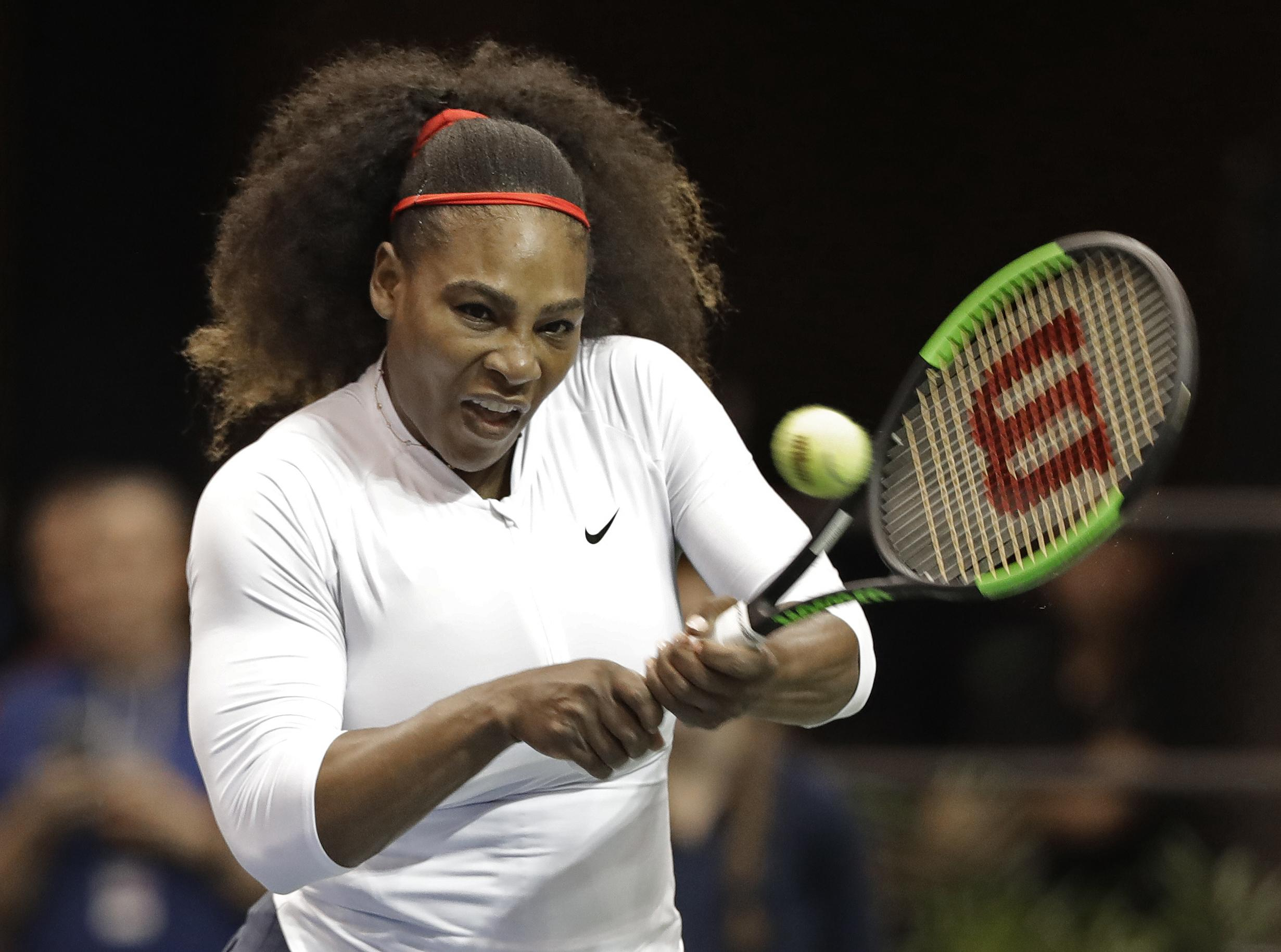 The seven-time Wimbledon singles champion, now 36, was returning to the game for the first time since giving birth