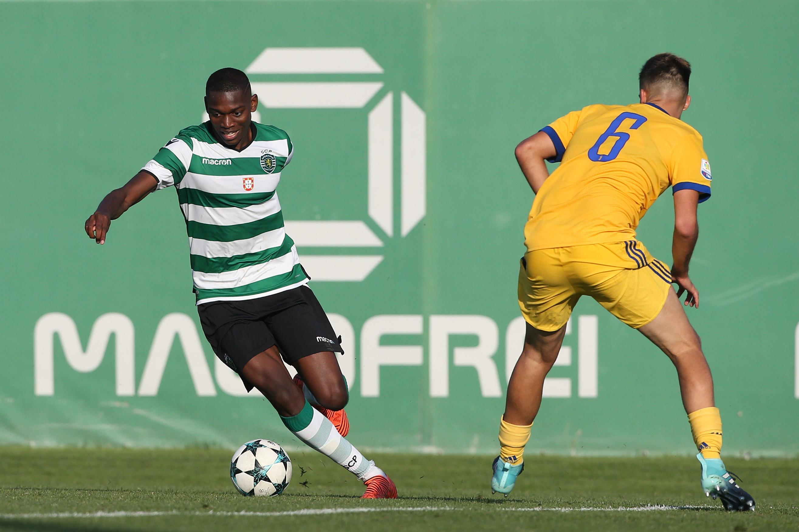 Rafael Leao up against Juventus defender Joao Serrao in a Uefa Youth League match