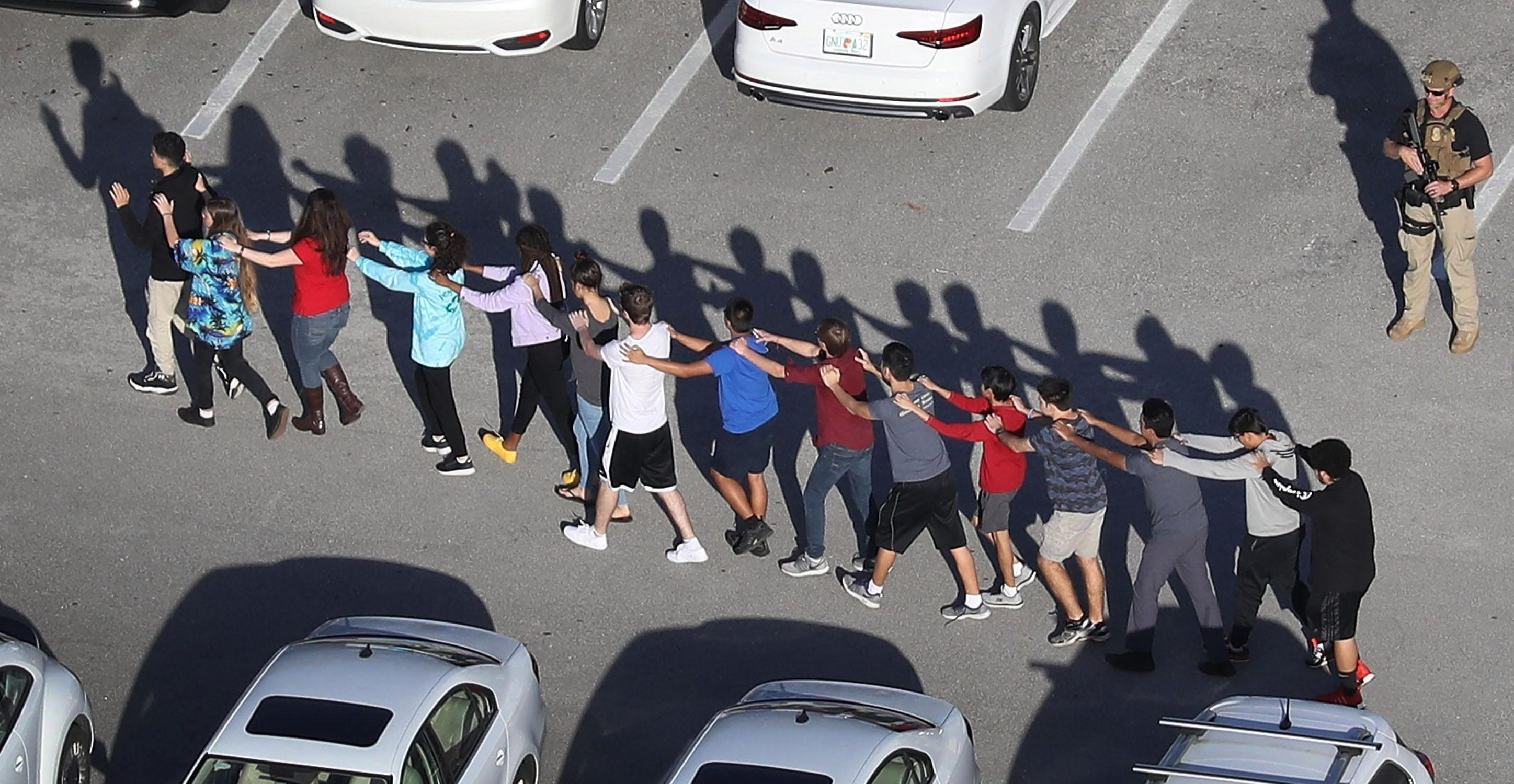 Dozens of students were made to form lines as they evacuated the school in Florida