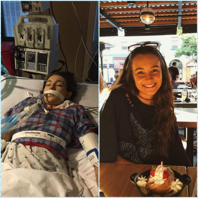 This is the photo that sent Emma viral. On the left, Emma after her overdose. On the right, Emma is shown recently - clean and happy
