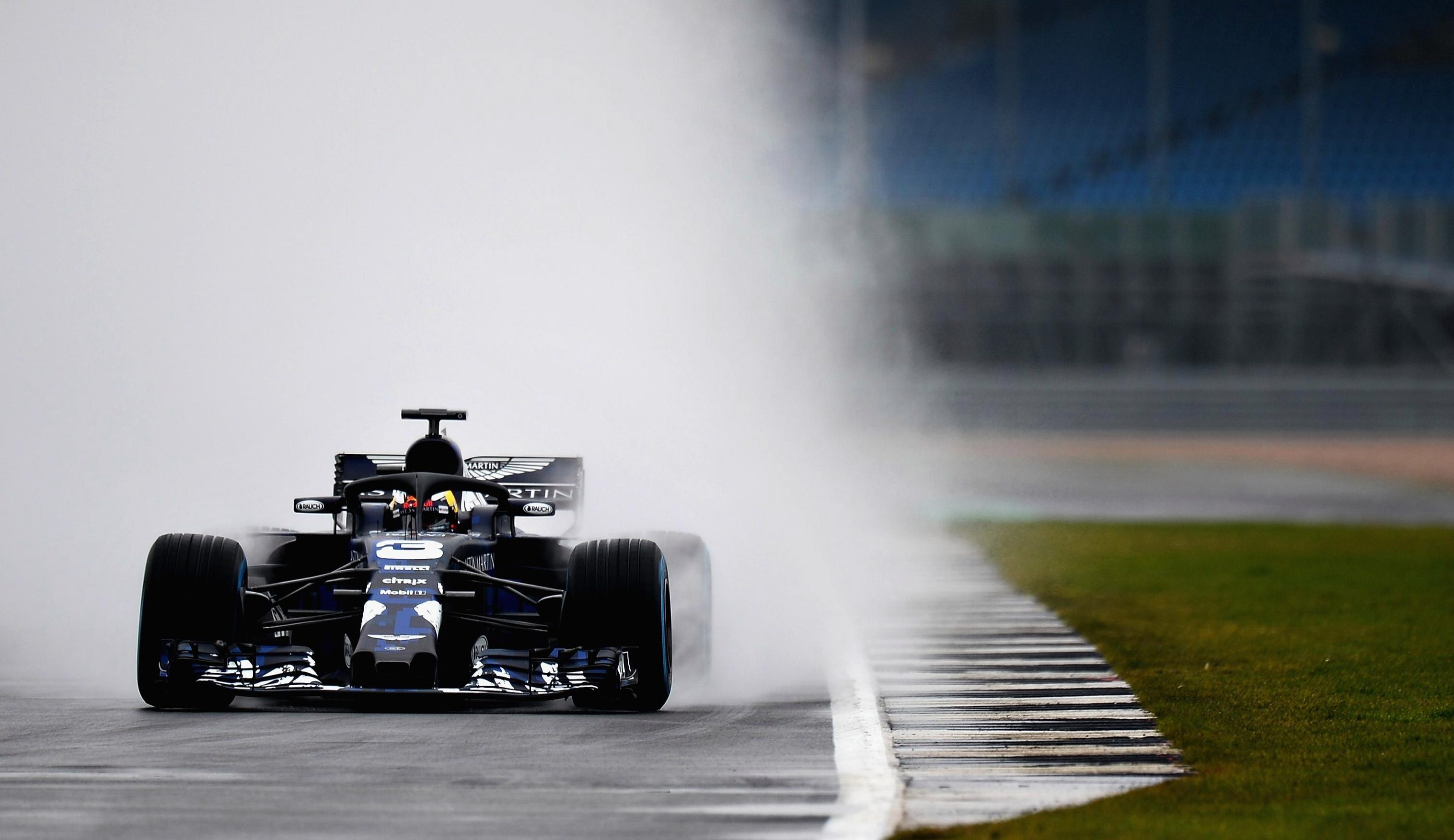 Ricciardo was driving the car at a wet Silverstone circuit for private filming on Monday