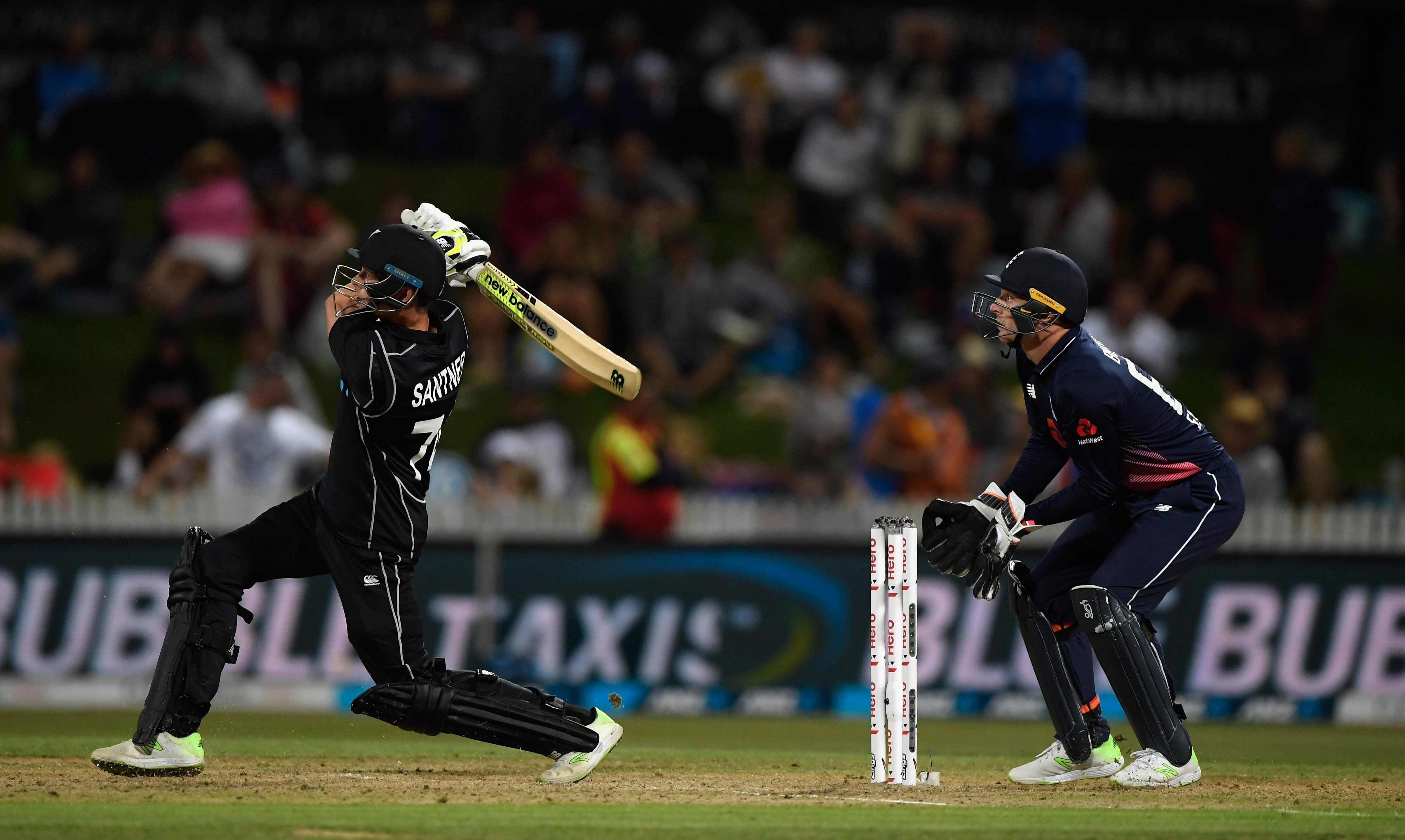Mitchell Santner smashed 45 not out to take the game away from England