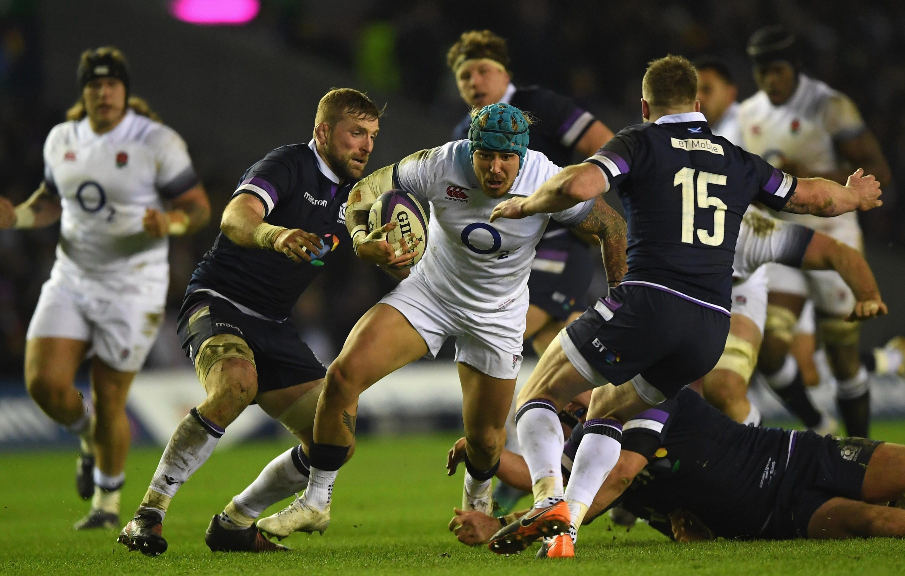 Jack Nowell tries to break through the resolute Scotland defence on a humbling afternoon for England at Murrayfield
